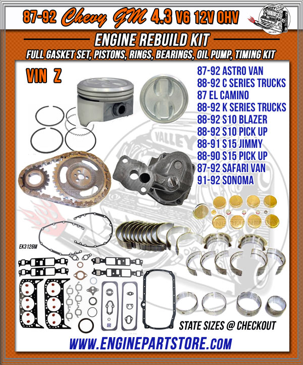 87-92 Chevy GM 4.3 engine rebuild kit.