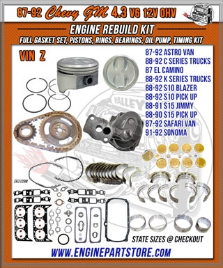 Chevy GM 4.3 Engine Rebuild kits