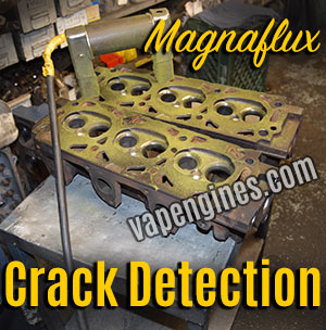 Magnaflux crack detection on cylinder heads
