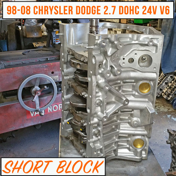 rebuilt 98 08 chrysler dodge 2 7 short block engine. Black Bedroom Furniture Sets. Home Design Ideas