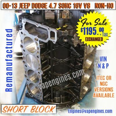 Rebuilt Dodge 4.7 Engine Short Block