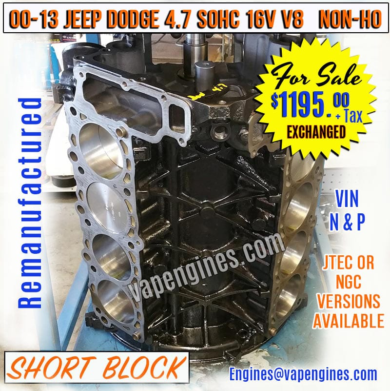 Rebuilt Dodge 4.7 Engine Short Block