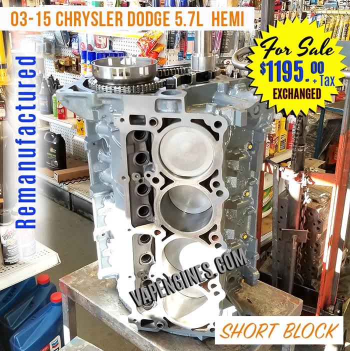 reman chrysler jeep dodge 5 7l hemi short block engine for sale engine builder auto machine. Black Bedroom Furniture Sets. Home Design Ideas