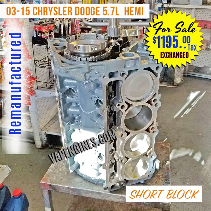 Rebuilt Dodge 5.7L Hemi Short Block Engine for sale.