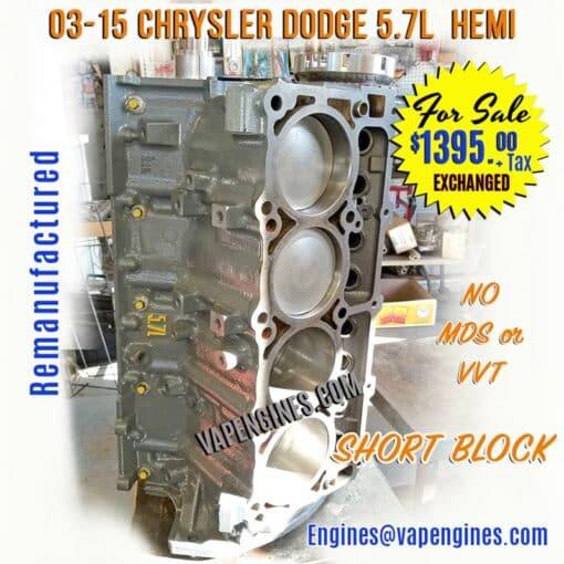 Rebuilt Chrysler Dodge 5.7 Short Block