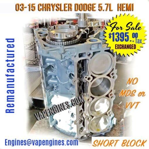 Rebuilt Dodge 5.7 Short Block Engine