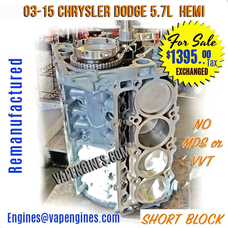 Rebuilt Dodge 5.7 Short Block Engine