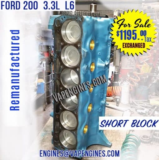 63-83 Ford 200 Engine Short Block for Sale