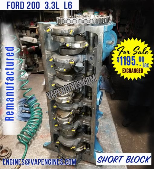 Ford 200 3.3L Engine Short Block for Sale