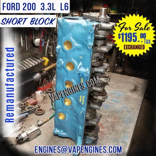 Rebuilt Ford 200 Engine Short Block for Sale