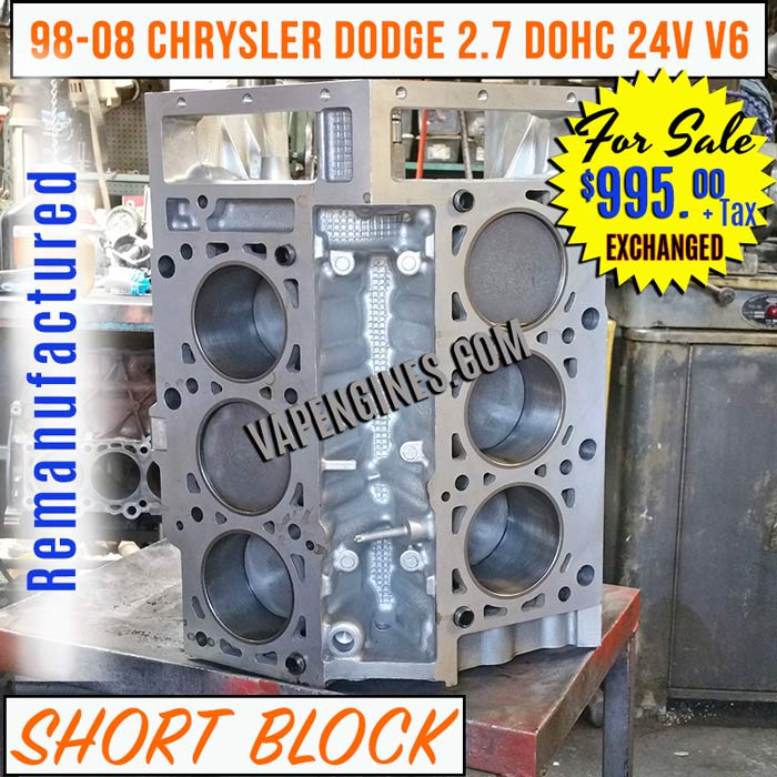 remanufactured chrysler dodge 2 7 short block engine sale. Black Bedroom Furniture Sets. Home Design Ideas