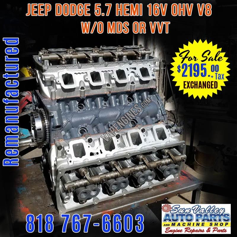 dodge 5.7 hemi used engines for sale Remanufactured Chrysler Dodge 2.2 Hemi Engine w/o MDS for Sale
