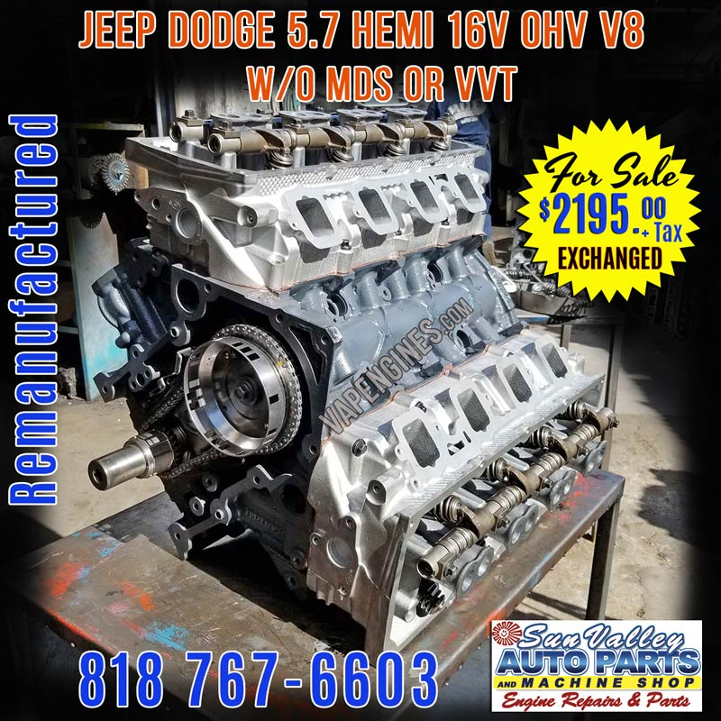 Remanufactured Chrysler Dodge 5.7 Hemi Engine W/o MDS For Sale