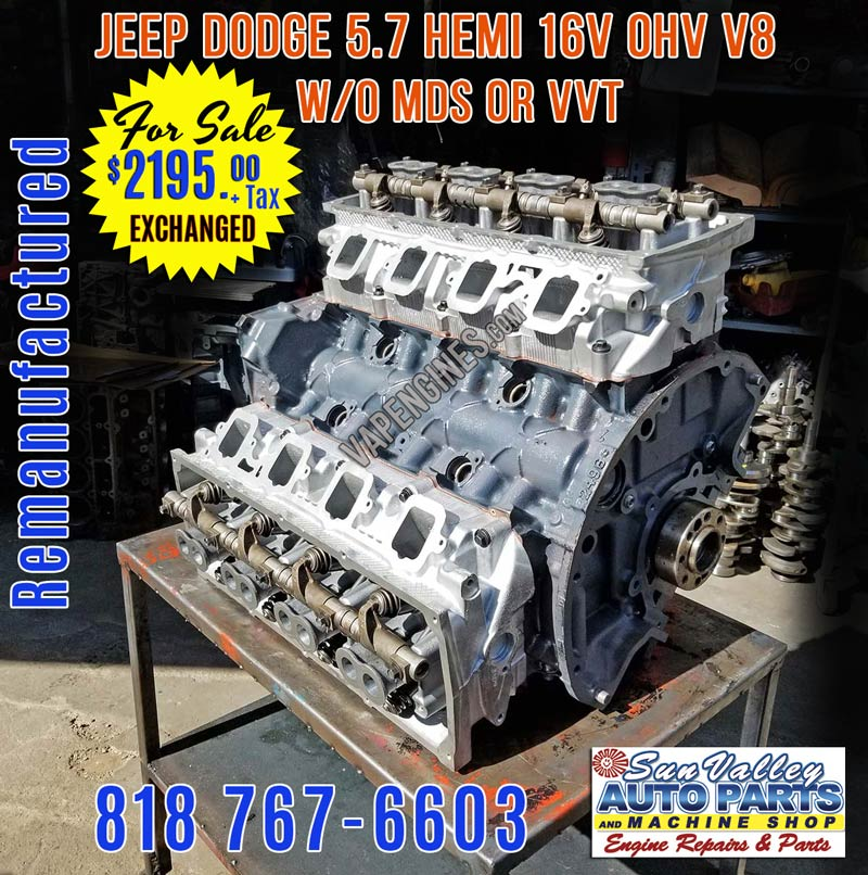 Remanufactured Chrysler Dodge 5 7 Hemi Engine w/o MDS for Sale