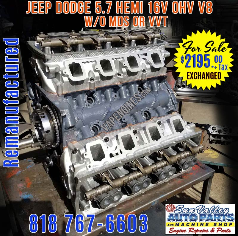 Remanufactured Rebuilt Dodge 5.7 Hemi Engine for Sale without MDS