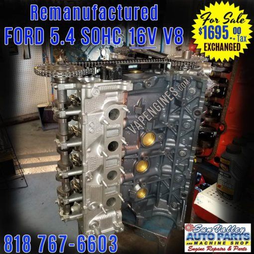 Remanufactured Ford 5.4L 16V Engine for Sale. Side view