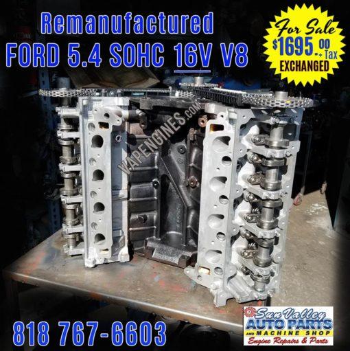 Remanufactured Ford 5.4L 16V Engine for Sale. Front Black