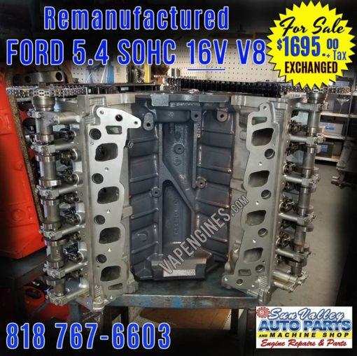 Remanufactured Ford 5.4L 16V Engine for Sale. Front Grey.