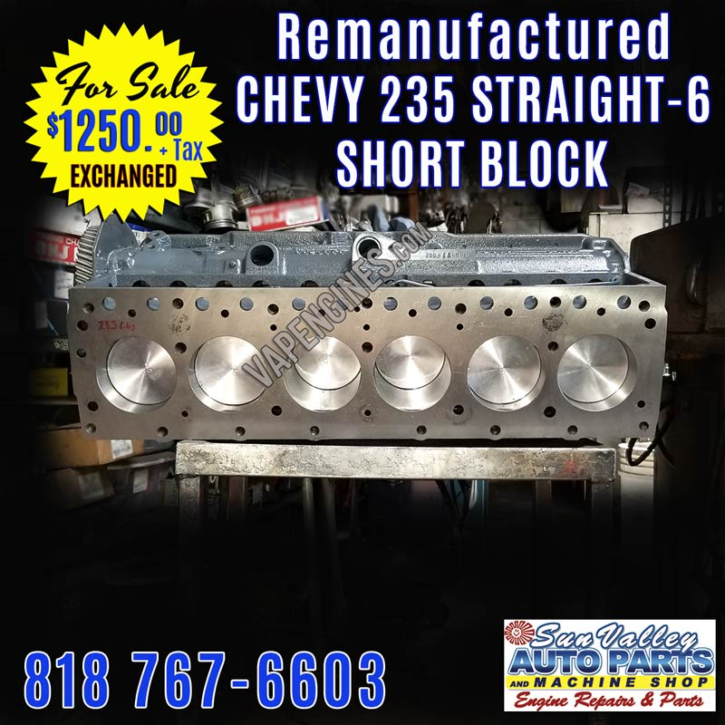 Rebuilt remanufactured Chevy GM 235 Short Block engine