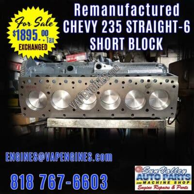 Rebuilt GM Chevy 235 Short Block engine for Sale