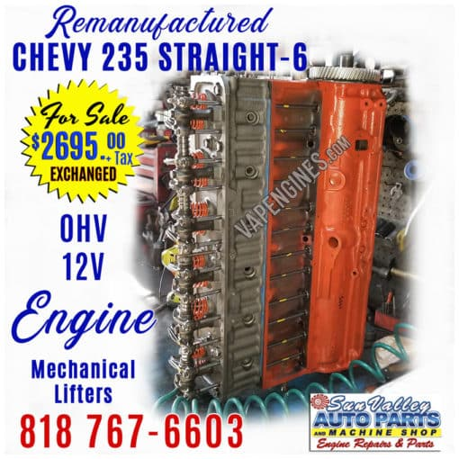 Rebuilt Remanufactured Chevy GM 235 Engine for sale