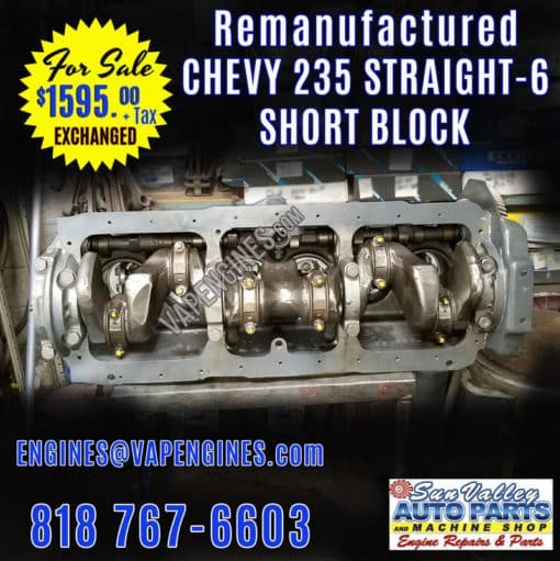 Rebuilt GM Chevy 235 Short Block engine for Sale