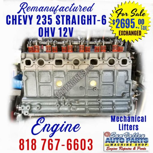 Remanufactured Chevy GM 235 Inline-6 Engine for sale
