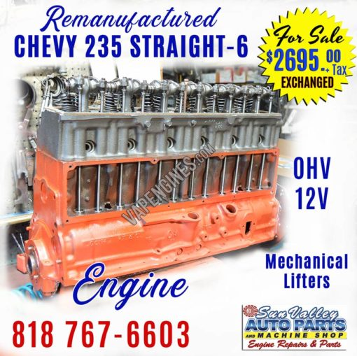 Remanufactured GM Chevy 235 Engine for sale