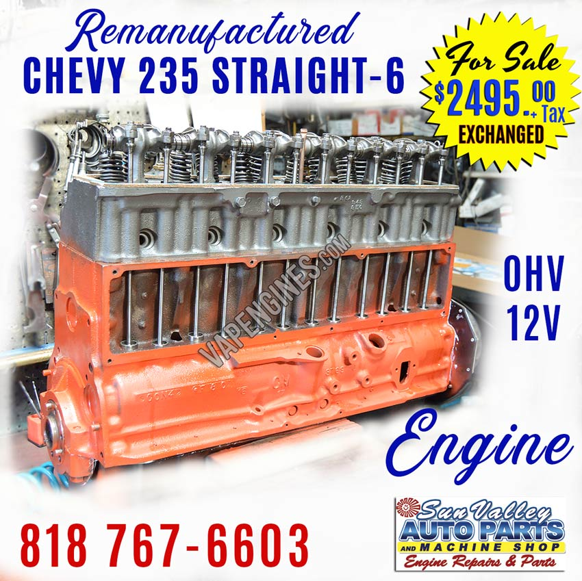 Remanufactured Chevy GM 235 Engine for sale
