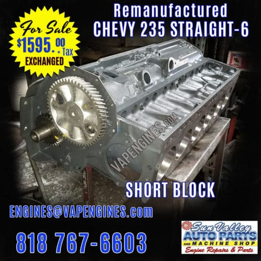 Rebuilt GM Chevy 235 Short Block engine