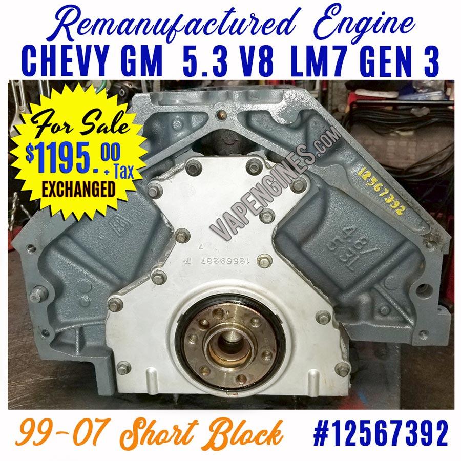 GM Chevy 5.3L GEN 3 LM7 Engine Short Block for Sale ...