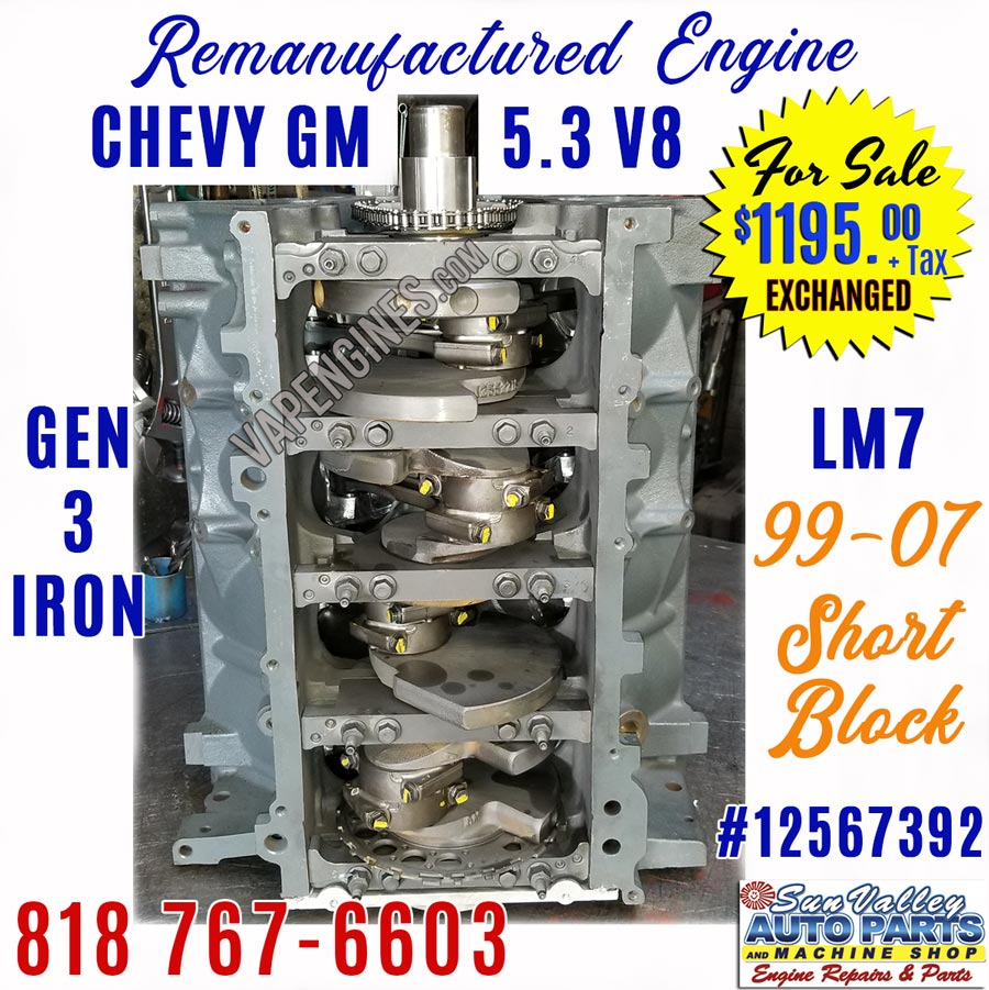 For Sale- 99-07 Chevy GM 5.3 Engine Short Block on
