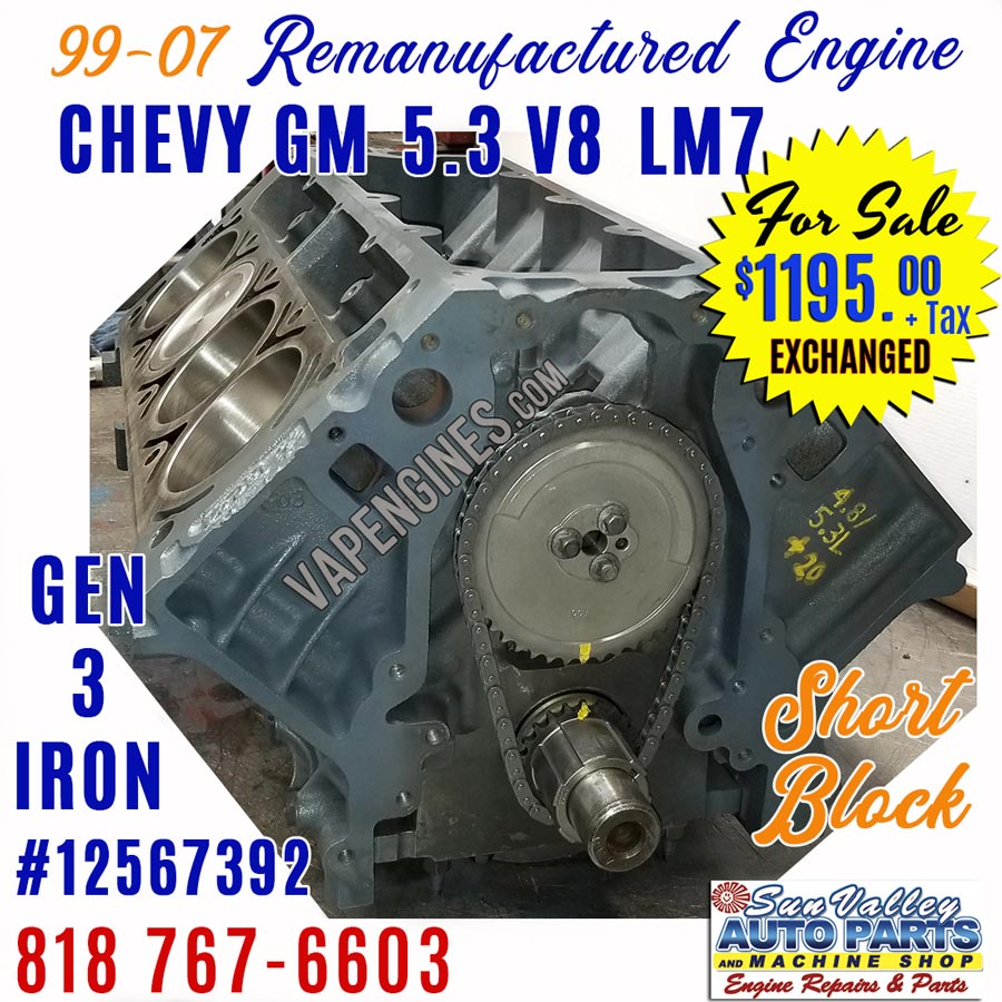 GM Chevy 5.3L GEN 3 LM7 Engine Short Block for Sale - RemanufacturedValley Auto Parts and Engines