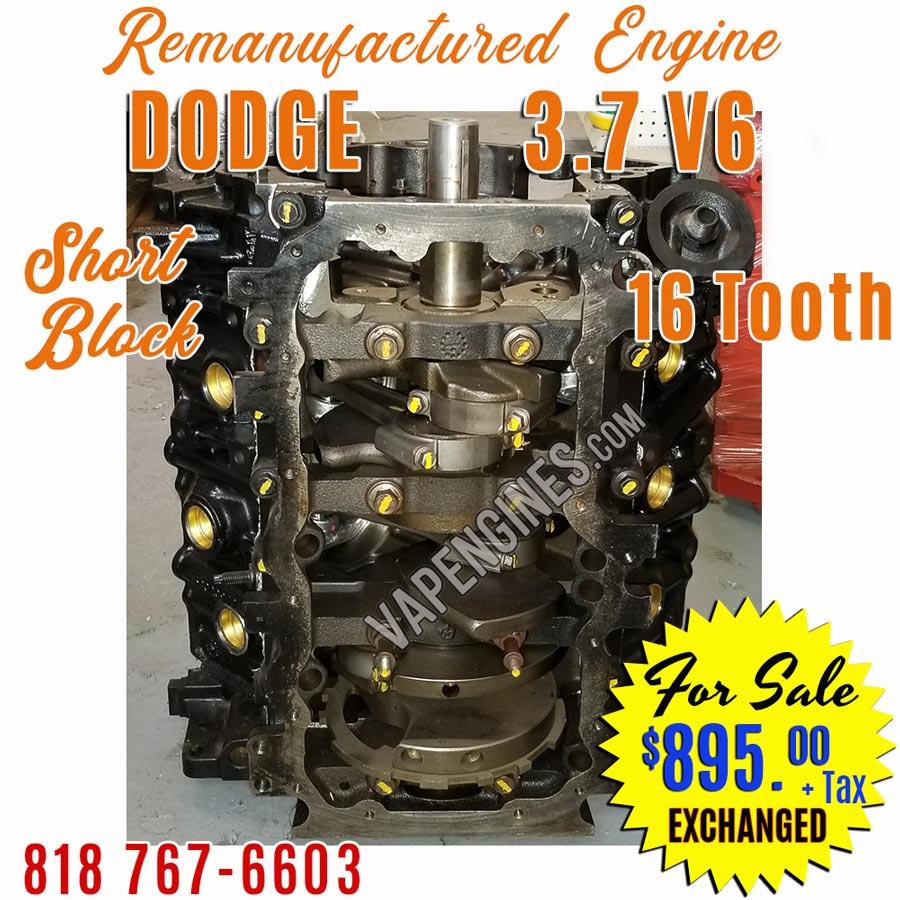 Dodge 3.7L V6 Engine Short Block Sale Remanufactured