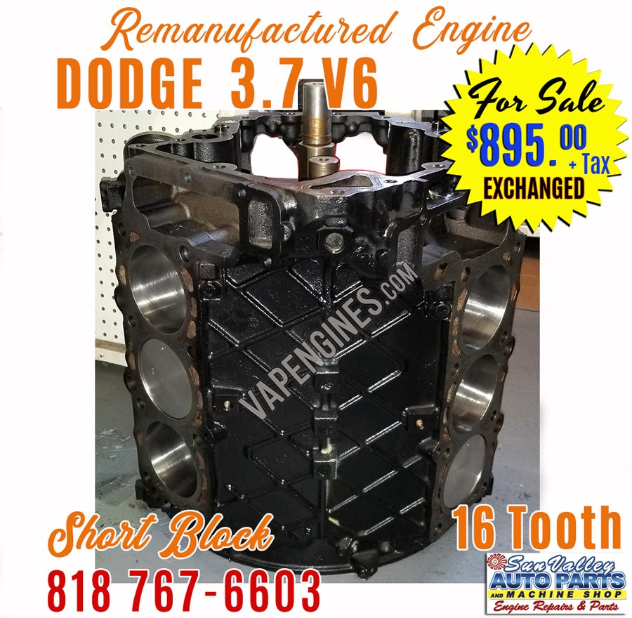 dodge 3 7l v6 engine short block sale remanufactured. Black Bedroom Furniture Sets. Home Design Ideas
