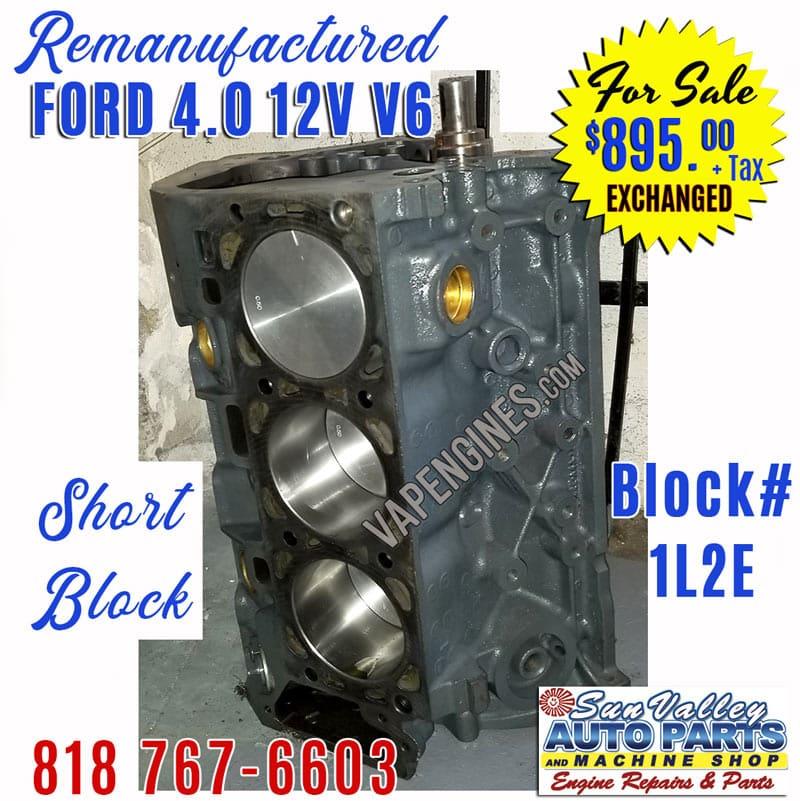 Jeep 4.0 Engine For Sale >> For Sale 01 07 Ford 4 0 V6 Sohc Engine Short Block