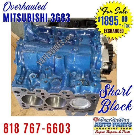 Overhauled Mitsubishi 3G83 3 cylinder Short Block Engine
