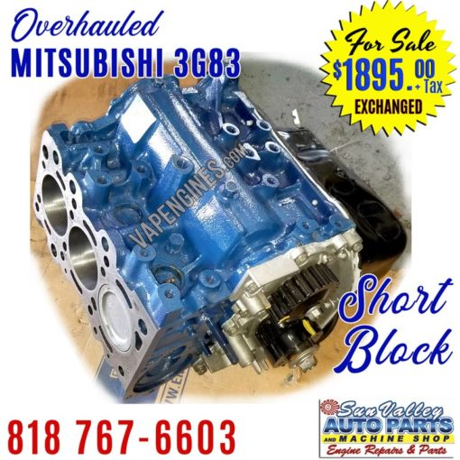 Overhauled Mitsubishi 3G83 660cc Short Block Engine
