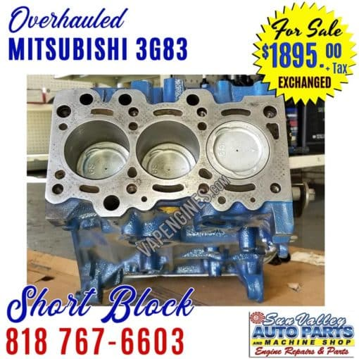 Overhauled Mitsubishi 3G83 Short Block Engine