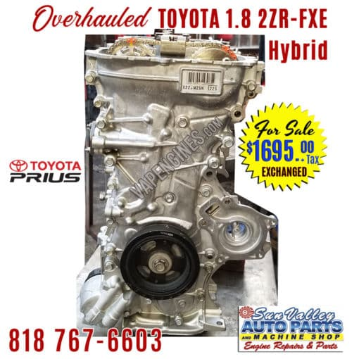 For Sale Overhauled Toyota Prius 1.8L 2ZR-FXE engine long block