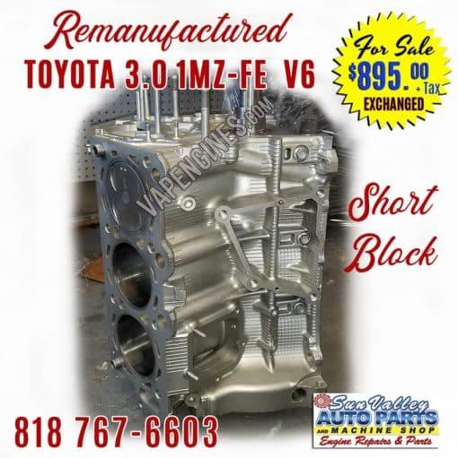Toyota 3.0 1MZ-FE V6 Engine Short Block