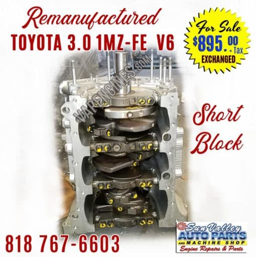 Rebuilt Toyota 3.0 1MZ-FE V6 Engine Short Block