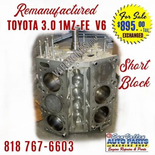 Remanufactured Toyota 3.0 1MZ-FE V6 Engine Short Block
