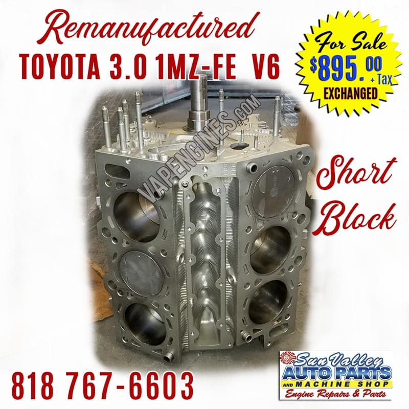 Remanufactured Toyota 3.0 1MZ-FE V6 Engine Short Block