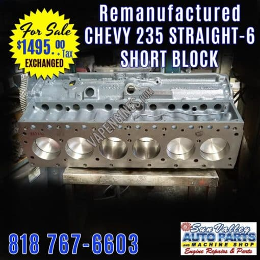 Chevy 235 Engine Short Block for Exchange