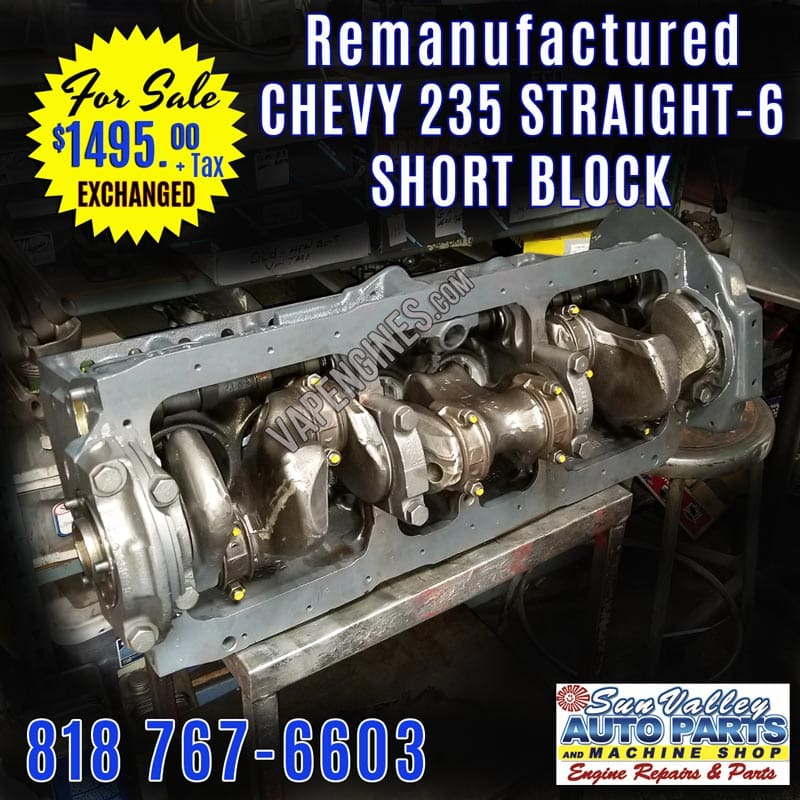 GM Chevy 235 Short Block Engines for Sale