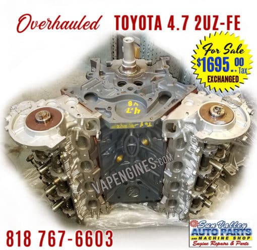 98-09 Overhauled Toyota 4.7 2UZ-FE DOHC 32V V8 Engine
