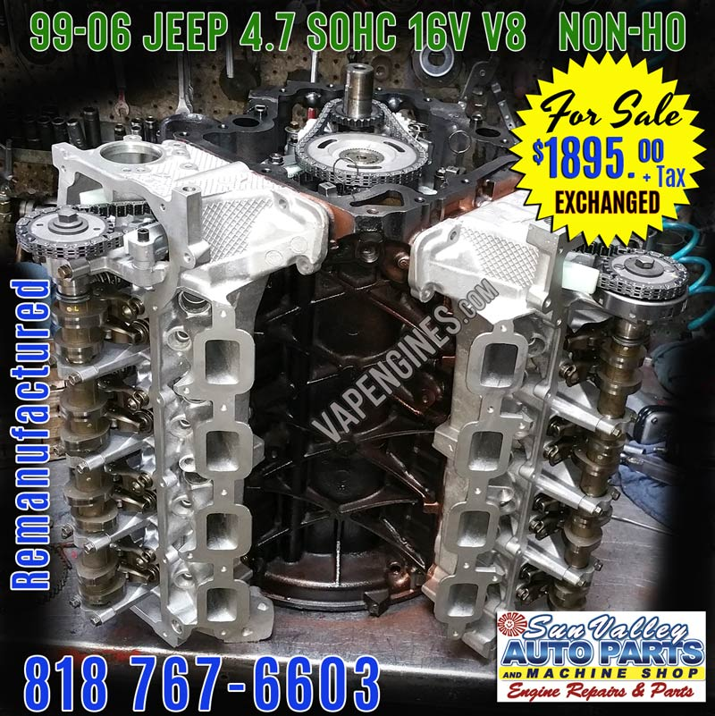 Rebuilt Remanufactured JEEP 4.7 engine for sale