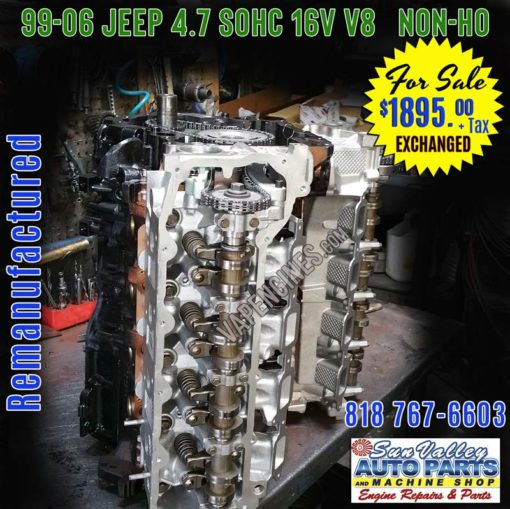Remanufactured JEEP 4.7 engine for sale, Non-HO