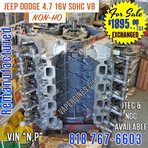Remanufactured Dodge 4.7 engine for sale.